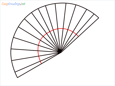 how to draw a hand fan Step (4)