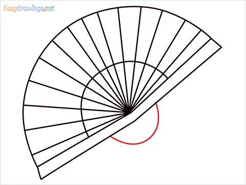 how to draw a hand fan Step (6)