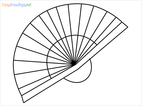 how to draw a hand fan Step by Step for Beginners