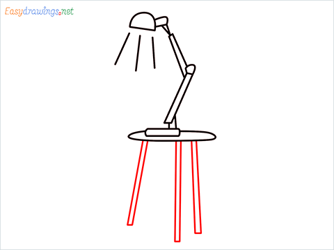 how to draw a table lamp Step (7)